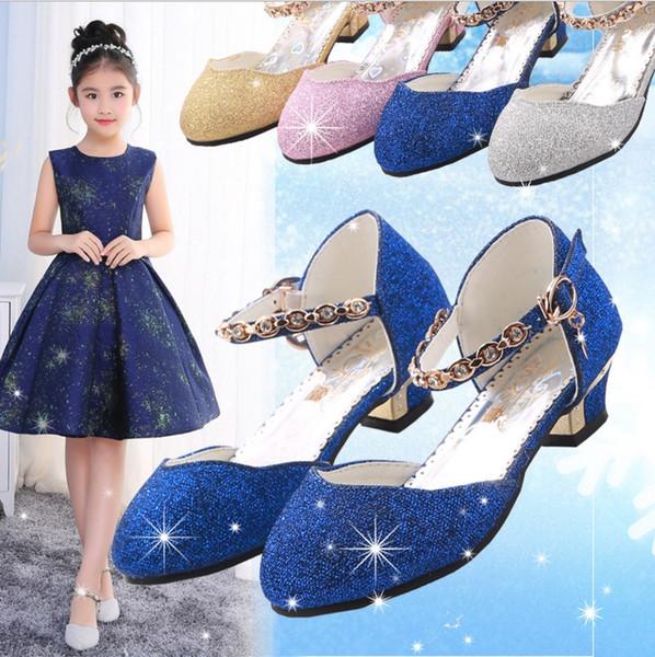 2018 estate nuove ragazze tacco alto sandali principessa ragazze danza spettacoli mostrano sandali scarpe baodan