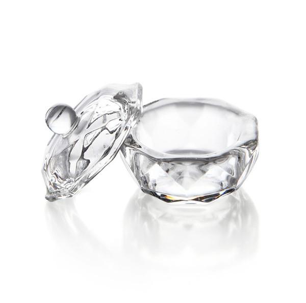 Belleza Nail Art Acrílico Cristal Cristal Dappen Dish Bowl Taza con tapa líquida Glitter Powder Caviar ronda envío gratis 50 unids