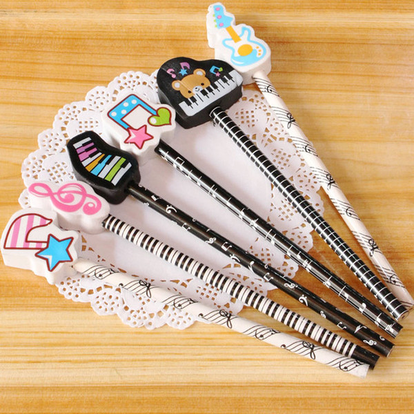 Cute Music Pencils Music Note and Piano Keyboard Themed Pencils School Stationery Gifts Set of 6pcs