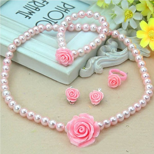 Fashion Jewelry Imitation Necklace Bracelet Ring Ear Clips Set Pearls Kids Girls Child Flower Shape Accessories