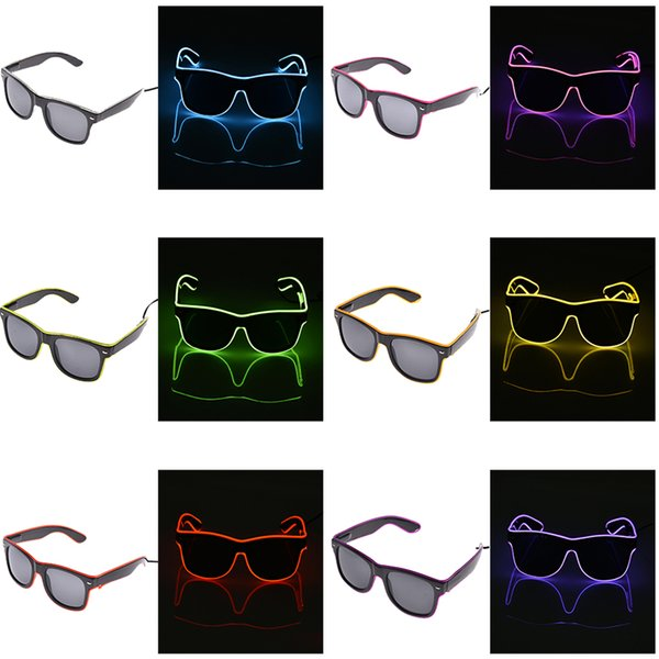 Las gafas LED de alambre EL se iluminan con las gafas de sol que brillan a la luz Pantallas de gafas para la fiesta del club nocturno Las gafas LED parpadeantes