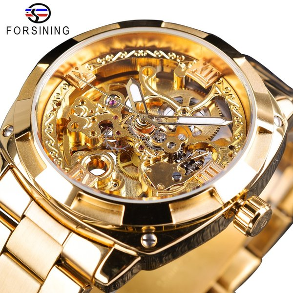 Forsining 2018 Moda Retro Hombres Reloj mecánico automático Top Brand Luxury Full Golden Design Luminoso Manos Reloj esqueleto