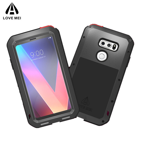 LOVE MEI Metal Armor Case for LG V30 V30+ V35 ThinQ,shockproof dustproof life-waterproof phone shell case with tempered glass