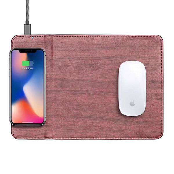 Cojín de ratón de cuero de la PU del cargador inalámbrico de lujo Cojín de ratón multifuncional para cargar el iphone Samsung S8