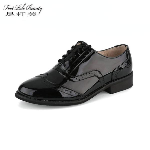 AYAK DİREK GÜZELLIK Marka Kadın Ayakkabı Hakiki Deri Düz Ayakkabı Kadın kadınlar için patent deri Brogue El Yapımı Oxford