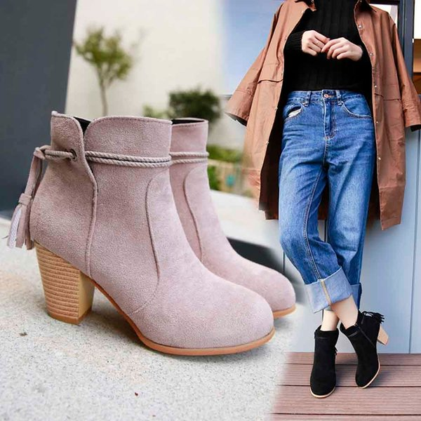botas 2018 Fashion Women Round zapatos de mujer Toe High Thick shoes woman Ankle boots women Side Zipper Tassel Ankle Boots #5