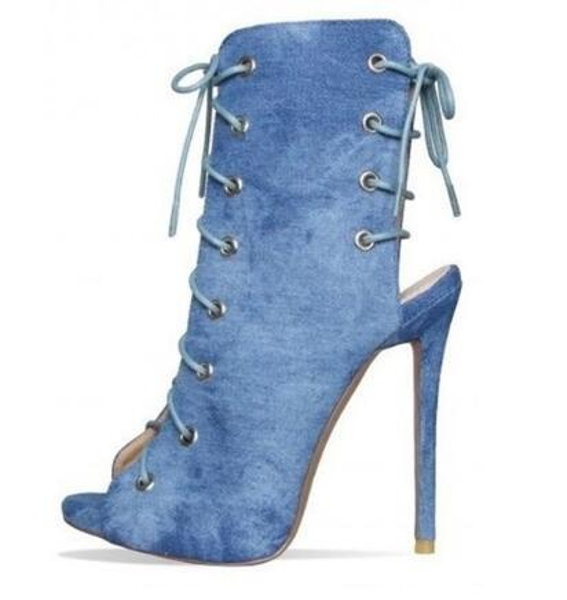 Compre Botines De Mezclilla Azul Claro Botines Peep Toe Stiletto Heel Lace Up Jeans Vestido Pimps Trend Fashion Strappy Gladiador A 15892 Del