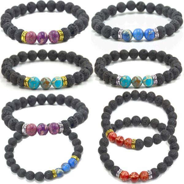 7 Chakra Natural Lava Stone Bracelets Women Charm Healing Reiki Balance Bangle Diffuser Bracelets Men Jewelry Christmas Gift 8 Styles D153SF