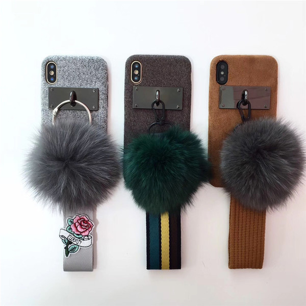 Case for iPhone X ,Luxury Anti-slip personality Scratch resistant phone case Holder with Plush Ball Hairball Case -4 sizes