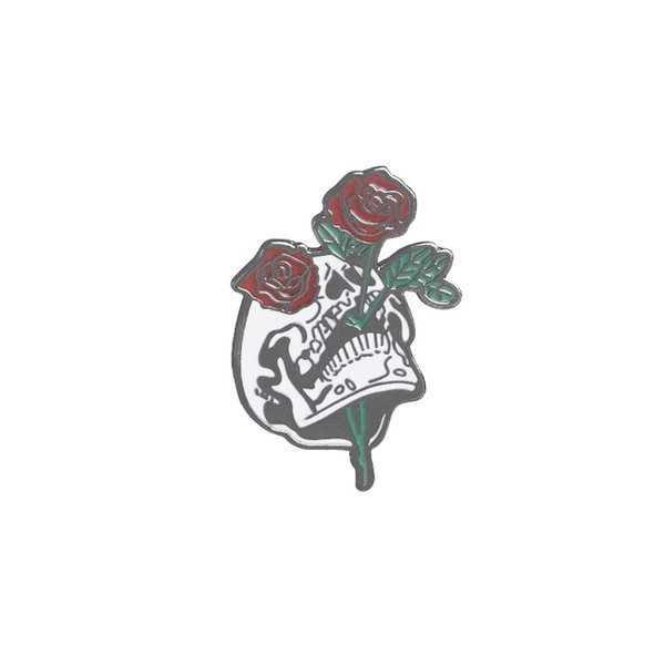 skull catch rose pins broches Enamel skeleton lapel pin Badge Denim Jackets pin gothic flower brooch for backpack jeans coat
