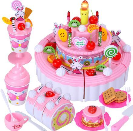 House birthday cake toy children simulation three-layer cake fruit cut music fun little girl toys for sale