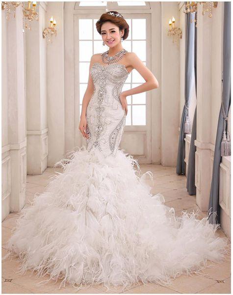 Stunning Beaded Mermaid Wedding Dresses Ruffle Feather Pleats Sweetheart Neck Corset bride dresses Custom Made wedding gown