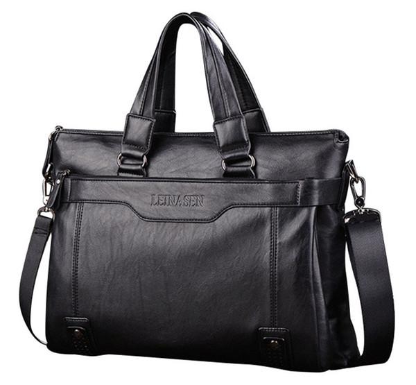 Brand Man Bag Leather Black Briefcase Men Business Handbag Messenger Bags Male Vintage Men's Shoulder Bag Large Capacity