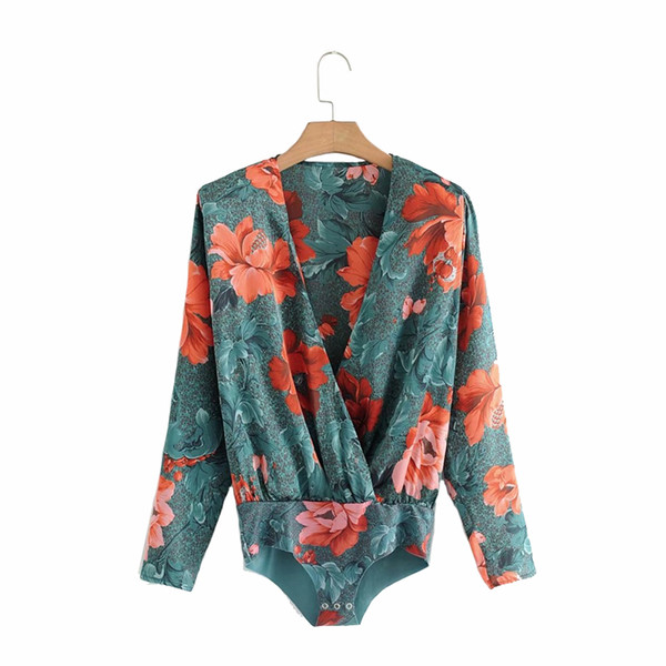 2019 Deep v neck floral print bodysuit women Long sleeve elegant jumpsuit romper Sexy satin overalls soft playsuit
