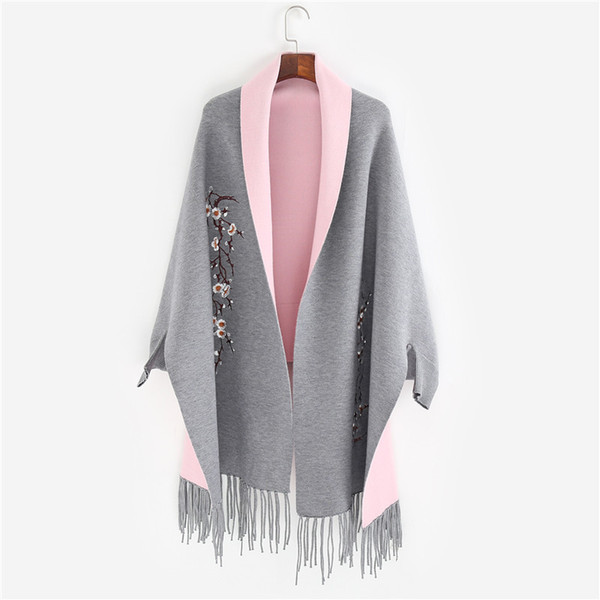 Brand New design with sleeve Poncho scarf winter warm cashmere Embroidery Cape tassel Blanket wrapped scarf shawl For Women S18101904
