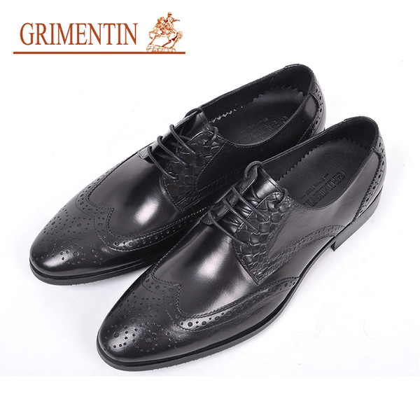 GRIMENTIN Hot sale formal mens dress shoes fashion genuine leather men oxford shoes pointed toes wedding office business male shoes RC10-6H