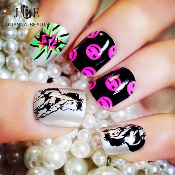 Nail Art False 24pcs Kid Fake Nail Tips Artificial Nails Pre Design Fake Drawing Nails Short Fingernails With 2g Glue Horse