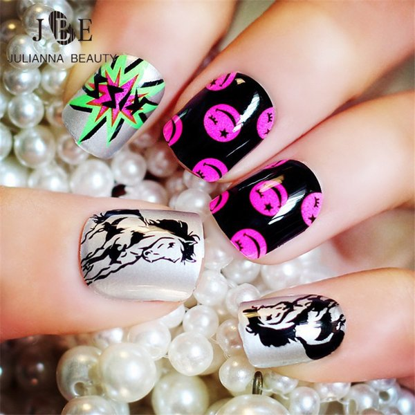 rtificial fingernails 24pcs Kid Fake Nail Tips Artificial Pre Design Fake Drawing Nails Short Fingernails With 2g Glue Horse Printing Na...