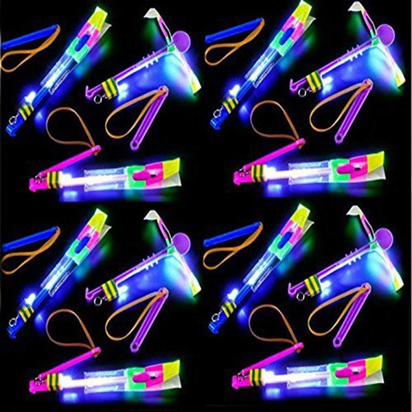 Mini Amazing Led Light Arrow Rocket Helicopter Flying Toy Party Fun Gift Elastic For Halloween Christmas 3600Pcs
