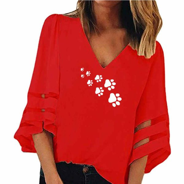 2018 Spring and Summer New Fashion Dog Paw Print T-Shirt Women Plus Size Loose Mesh Stitching Female Tops for Woman T Shirt