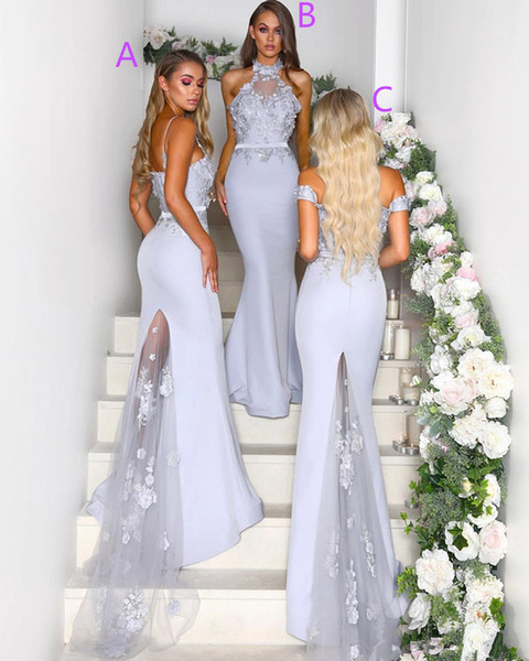 2019 new chic Elegant Mermaid Backless Bridesmaids Dresses For Wedding Mixed Styles Appliques Sweep Train Maid of Honor Gowns Custom Made