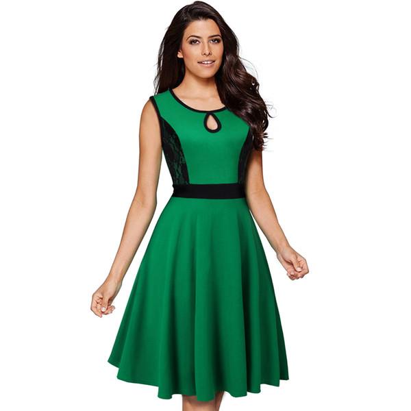 Elegantes vestidos sin mangas de las mujeres europeas Collar de gota de agua Buena calidad Mezcla de algodón Color delgado Bloqueo de encaje Vestidos de una línea Verde