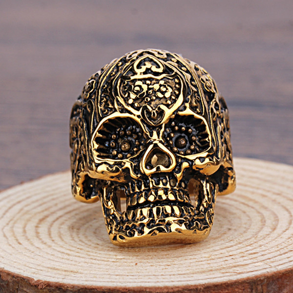 Stainless Steel Ring Rock Roll Neo Gothic Carved Pattern Black and Gold Skull Biker men Boys Jewelry Gift