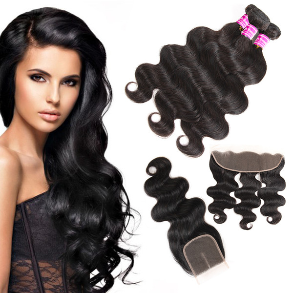 Superior Supplier Brazilian Virgin Hair Body Wave 3 Bundles With Lace Closure & Frontal Raw Peruvian Indian Human Hair Extensions Wefts