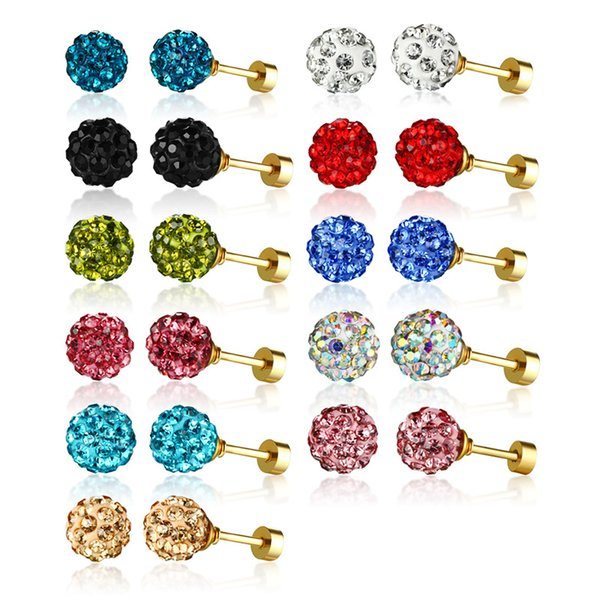 Fashion Bling Crystal Ball Stud Earrings Women and Girls Party Jewelry 11Pairs/Set 8MM Stainless Steel Ear Studs Multi- Color Available Brin