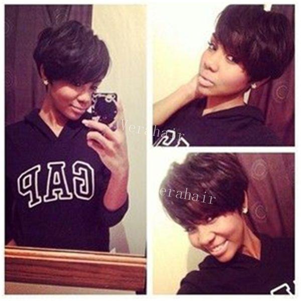 Coupe courte aucun dentelle humaine bob perruques New Pixie Cut pas cher Perruque de cheveux humains Rihanna Black Perruques pour les femmes noires African American Celebrity Perruques