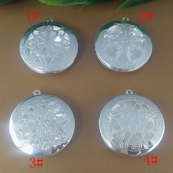 10pcs 32MM Silver plated hollow round photo locket pendant wish box charms jewelry, China diy metal fashion picture frame pendants for women