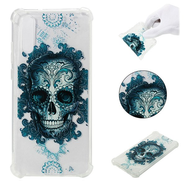 Soft TPU Cover For Huawei P20 Lite Case Coque transparent Coloured drawing Shockproof Phone Cases Blue butterfly Cloud Skull