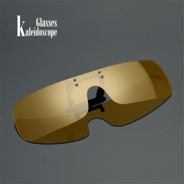Frauen Clip auf Sonnenbrillen Männer Polarisierte Klassische Schild Brille Gelbe Nachtsicht Fahren Flip Up Brille