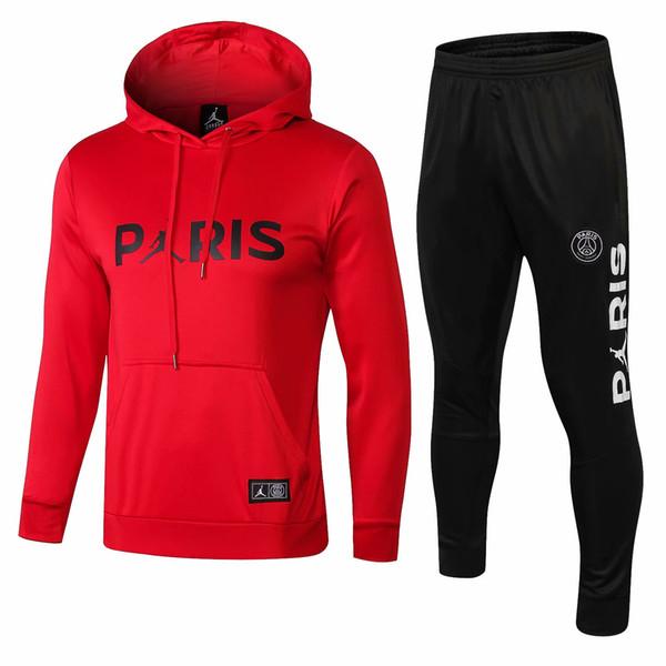 3 trajes Envío gratis DHL 18 19 psg Paris chándales rojos 2018 2019 CAVANI camisetas de fútbol MBAPPE trajes de entrenamiento Hoodie Plus pantalones deportivos