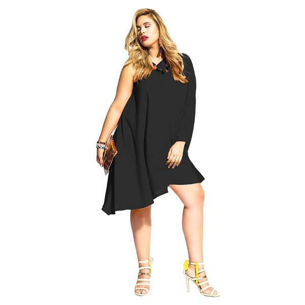 Fat lady fashion large size plus code solid color sloping shoulder off shoulder long sleeve loose milk fiber one-piece sexy clue party dress