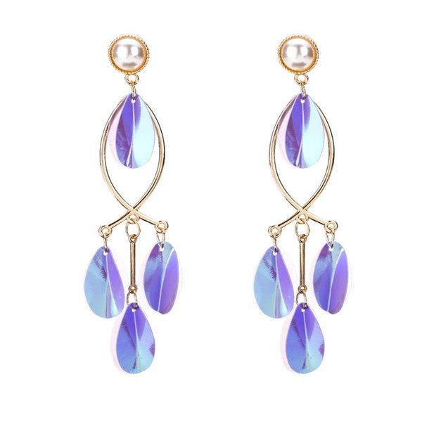 New Colorful Sequin Tassel Dangle Earrings for Women Handmade Simulated Pearl Statement Wedding Earrings Jewelry Accessories