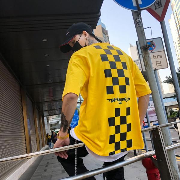 Retour Squares Impression T-shirt ras du cou ras du cou Hommes 2018 Été Nouvelle mode Streetwear Hip Hip Tshirt T-shirts homme