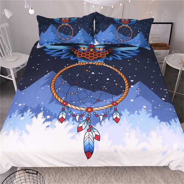 Owl Dreamcatcher Funda nórdica Juego de cama azul Snow Mountain Pattern 3Pcs Funda de cama suave con funda de almohada Twin Full Queen King Size