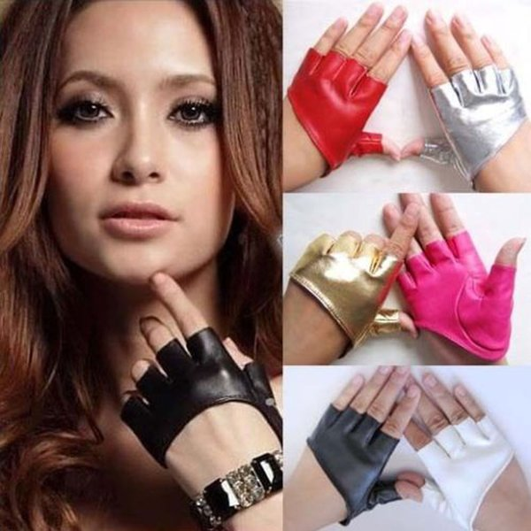 PU Half Finger Lady Leather Lady's Fingerless Driving Show Jazz Gloves for Women Men Stage pole dancing performance gloves