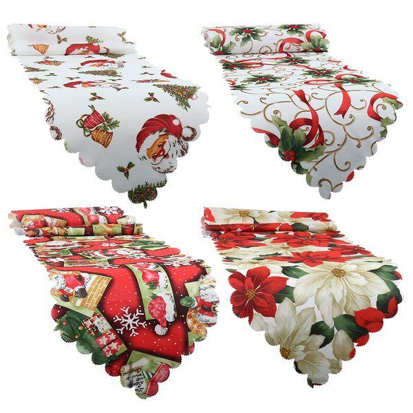 Hot Christmas Print Table Runner Placemats Tablecloth Mat Santa Snowflakes Festive Wedding Xmas Party Banquet Decor