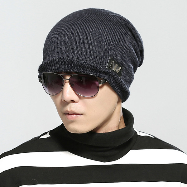 2018 Winter Beanies Men Scarf Knitted Hat Caps Mask Gorras Bonnet Warm Baggy Winter Hats For Men Women Skullies Beanies Hats 002