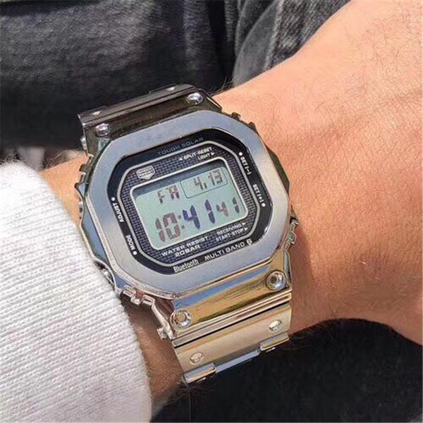 Novos homens de luxo cinto de aço relógios de pulso AAA Quantidade G Estilo display LED Esporte estudante relógio à prova de choque Quadrado de discagem relógios pulseira de prata