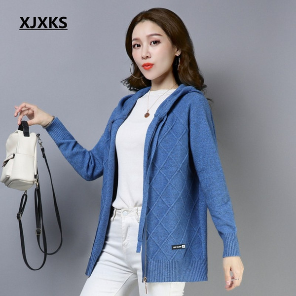 XJXKS jersey mujer good quality cardigan women coat hooded brand design comfortable wool knit wear womens cardigan sweater