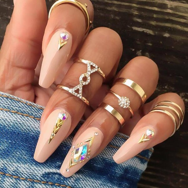 5 PCS/Set Gold Color Retro Simple Knuckle Rings For Women Vintage Geometric Crystal Ring Set Party Bohemian Jewelry R0019