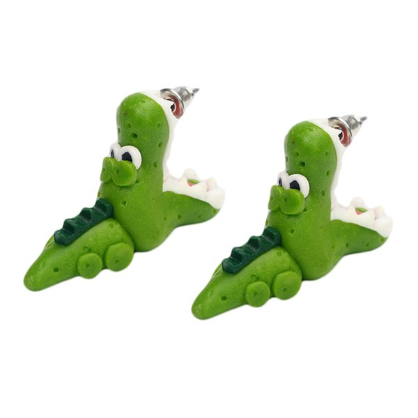 1/Pair Handmade Polymer Clay Crocodile Dinosaur Stud Earring For Women Animal Earrings Jewelry Fashion Girl Earring Gifts