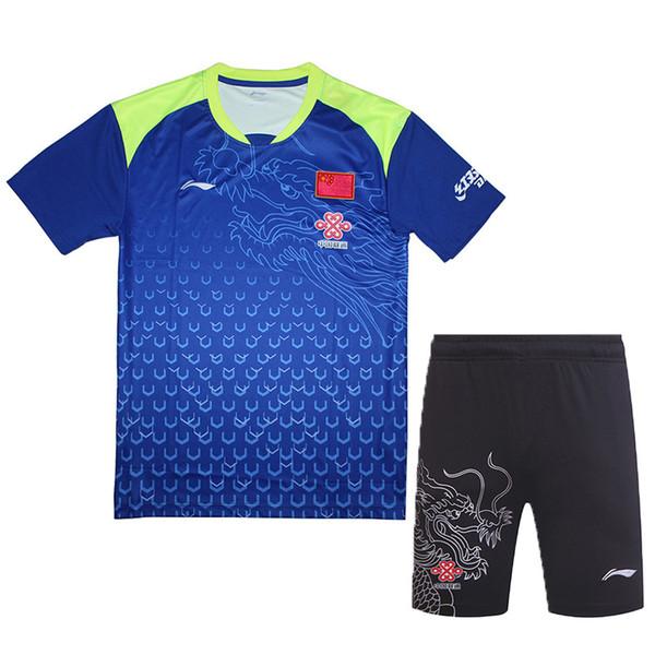 China Pingpong Equipe Jersey, 2018 LI-NING Ma Long Jersey, li-ning Tênis de Mesa homens Tshirt, roupas de tênis 1 conjunto 6031A