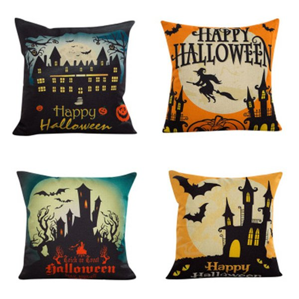 Halloween Bat Pillow Case Witch A Living Room Pillowcase Ornament Home Decor Square Cushion Cover Sofa Decoration Gift Car