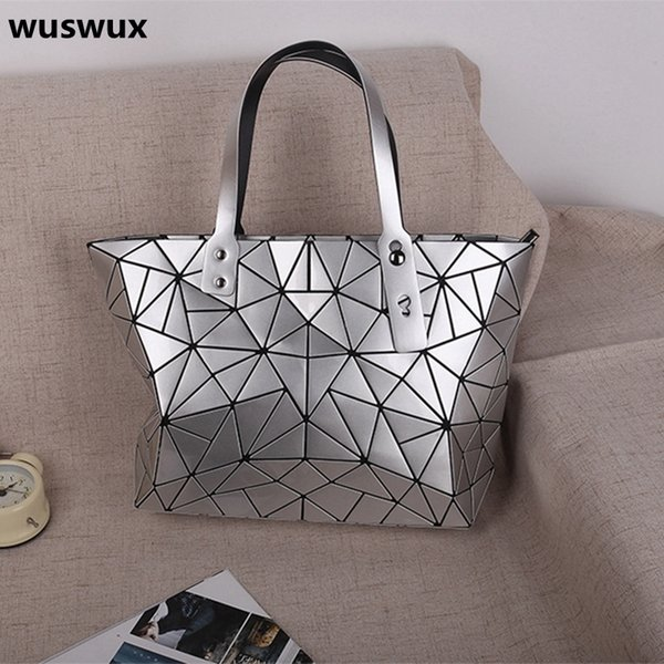 WUSWUX new fashion PU Geometric folding women bag 2017 handbag large casual tote stone zipper famous shoulder bags 12 colors D18102407