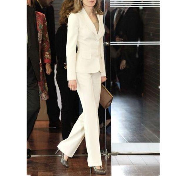 Terno de duas peças terno personalizado das mulheres (jaqueta + calça) marfim branco single-breasted lapela decoração ocidental das mulheres simples das mulheres