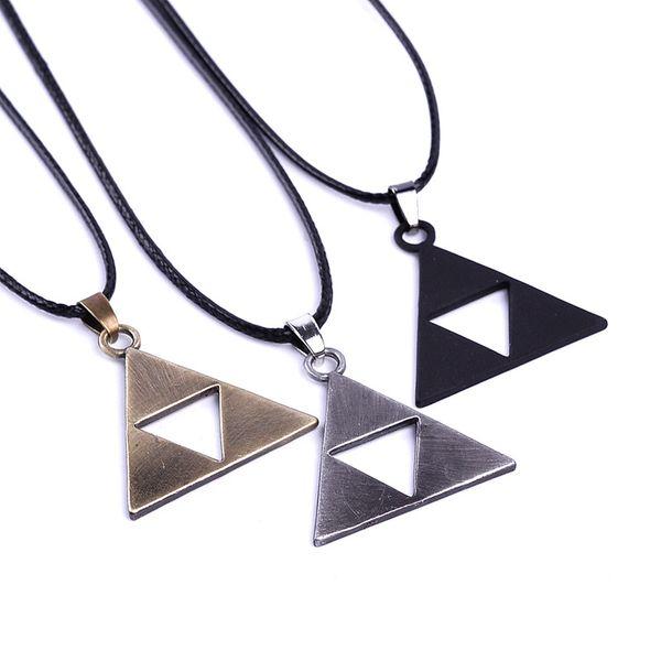 3 colors ZELDA Legend Of Zelda necklace princess bronze black Triforce Zelda Triangle denpants fashion jewelry for men women